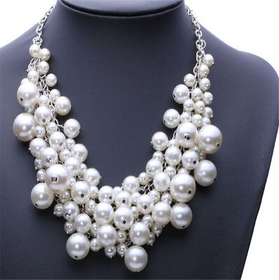 Huge Pearl Beads Cluster Collar Chunky Chain Choker Necklace Wedding (Huge Beads Necklace)