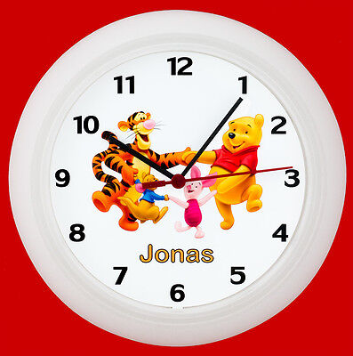 Kinderwanduhr Kinderuhr Wanduhr Kinder Uhr Bär Winnie Pooh Tiger mit Namen