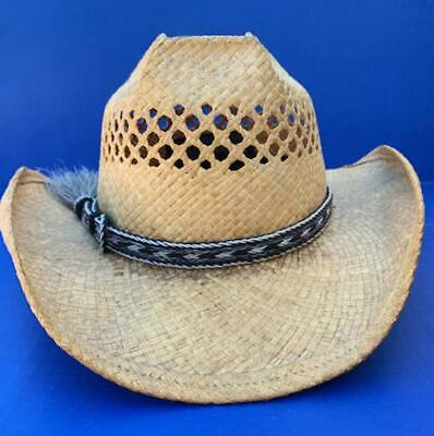 Western Decor Cowboy HAT BAND 5 Strand Silver/Blk/White Horsehair Single Tassel