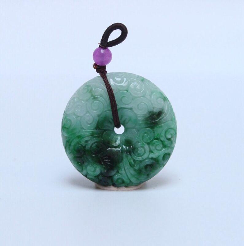 Exquisite Chinese Jadeite Jade Carved Moire Pendant