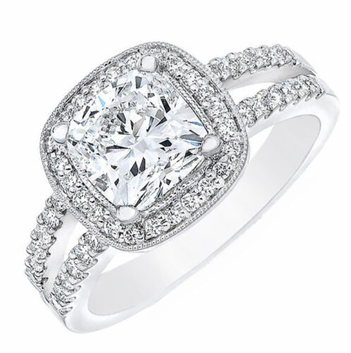GIA Certified Diamond Engagement Ring 2.10 Ct. tw. Cushion cut and Round Cut ...