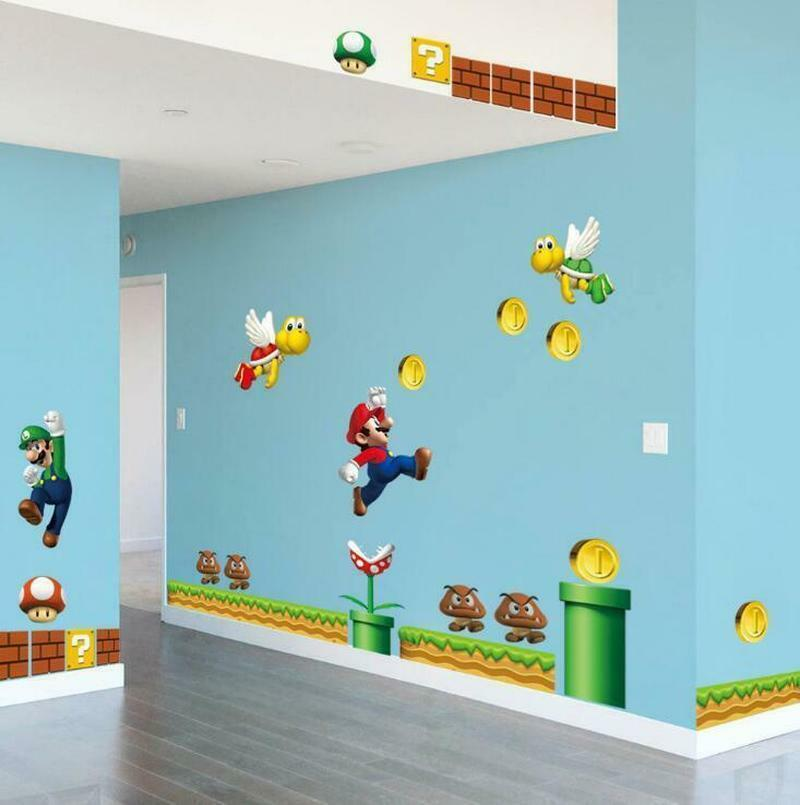 Home Decoration - NEW Super Mario Bros Removable Wall Stickers Decal Kids Bedroom Home Decoration