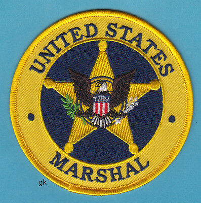 """US MARSHAL POLICE SHOULDER  PATCH.  4"""" Yellow."""