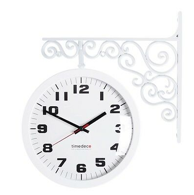 Antique Art Design Double Sided Wall Clock Station Clock Home Decor - AWhite