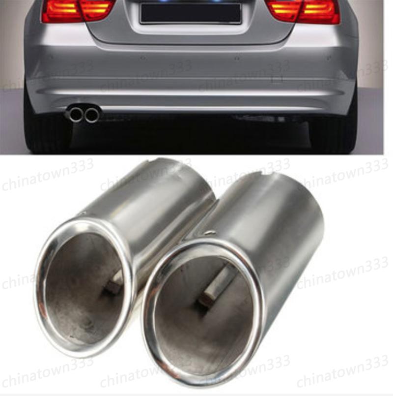 For BMW E90 E92 325 3 Series 06-10 Muffler Exhaust Tail Pipe Tip Chrome 2X Set