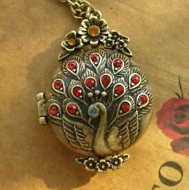 Beautiful Peacock Locket Crystal Pendant