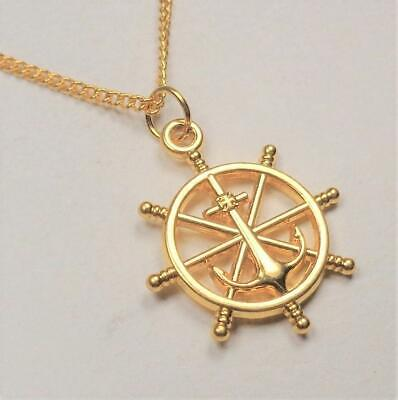 BEACH FASHION NAUTICAL GOLD SHIPS WHEEL ANCHOR RHODIUM VIN&SUE PENDANT - Gold Ships Wheel Pendant