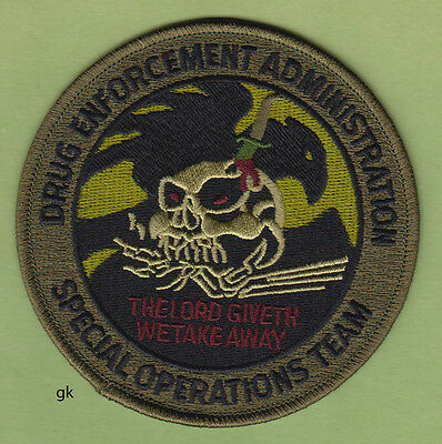 DEA DRUG ENFORCEMENT ADMIN. SPECIAL OPERATIONS TEAM SKULL SUBDUED Green  PATCH