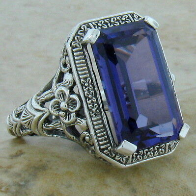 8 Ct COLOR CHANGING LAB ALEXANDRITE ANTIQUE DESIGN 925 SILVER RING Sz 5.75,   #1