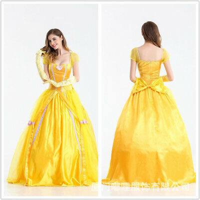 Halloween Costumes Beauty and the Beast Belle Fancy Dress Cosplay Womens Adults (Beauty And The Beast Costumes Adults)