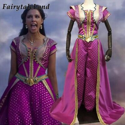 Jasmine Cosplay Costume Halloween Cosplay Movie Aladdin Princess Dress Outfit](Halloween Costume Outfits)