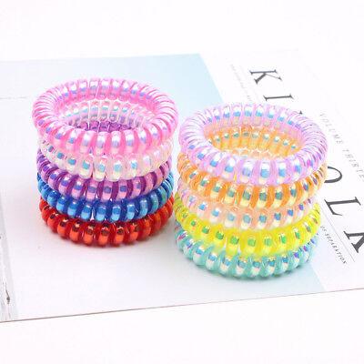 10PCS Rubber Telephone Wire Hair Ties Spiral Slinky Hair Head Elastic Bands Rope - Slinky Hair Ties