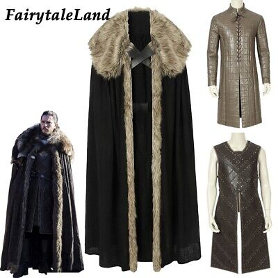 New Game of Thrones season 8 Costume Vest Jon Snow cosplay Cloak Outfit suit Top](Game Of Thrones Cloak)