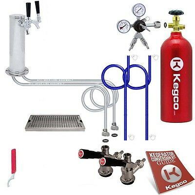 Kegco Kegerator 2 Keg Tap Draft Beer Dispenser Tower Conversion Kit Drip Tray