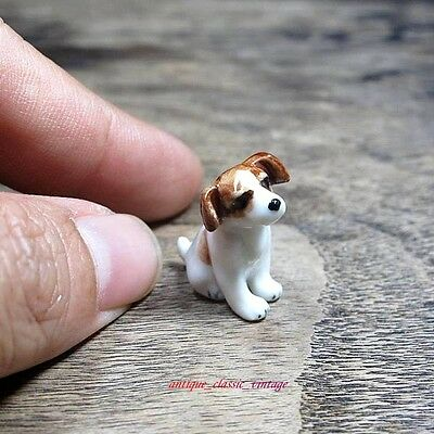 Tiny Jack Russell Dog Figurine Ceramic Collectibles Dollhouse Miniature Handmade for sale  Shipping to Canada