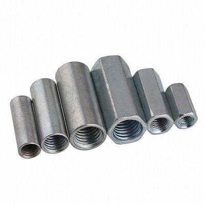 5PCS M6 M8 M10 M12  Hex/Round Nuts Metric Rod Coupling Nuts Steel Connector - Metric Coupling Nuts