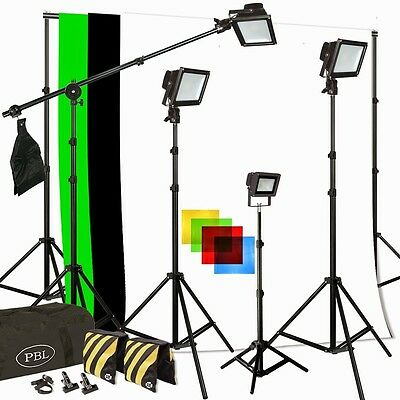 (Photo Video Studio LED PowerLight 350W Light Kit Boom Chromakey Support System)