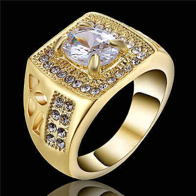 Size 9 Fashion White Sapphire Yellow 18K Gold Filled Wedding Jewelry Ring