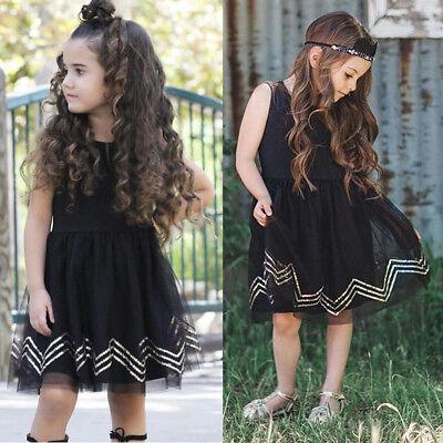 USA Girls Black Princess Dress Kids Baby Party Pageant Lace Tulle Tutu Dresses