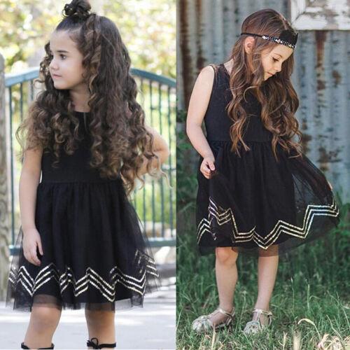 USA Girls Black Princess Dress Kids Baby Party Pageant Lace