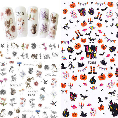 3D Nail Stickers Cat Owl Rabbit Halloween Skull Pumpkin Nail Art Transfer Decals](Halloween Cat Nail Art)