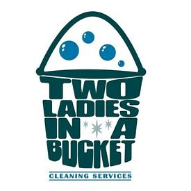 Two ladies in a bucket cleaning services