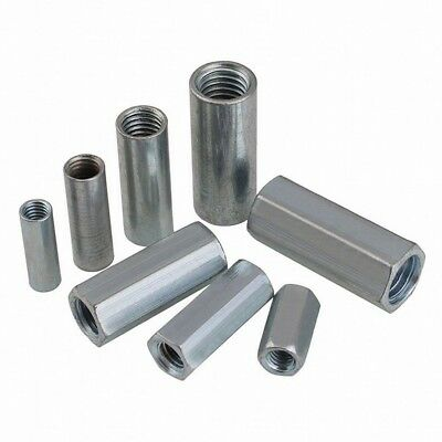 5PCS M6 M8 M10 M12 Metric Rod Coupling Nuts Hex Round Nuts Steel Connector - Metric Coupling Nuts