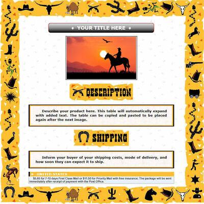 AUCTION TEMPLATE Southwestern U.S. Wild West Border Frame Design - FREE SHIPPING - $2.49