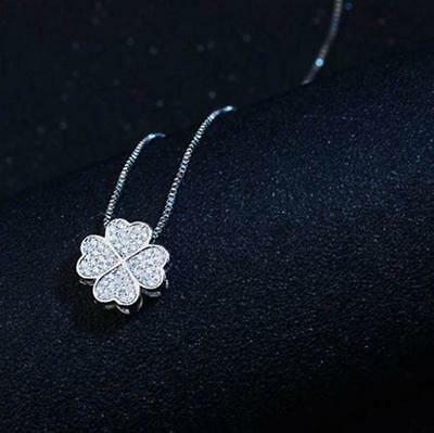 Four-leaf Clover 925 Sterling Silver Micro-inlay Cubic Zirconia Pendant (Silver Four Leaf)