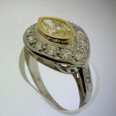 1.01 ct GIA Fancy Yellow Color VS1 Marquise Diamond Platinum Antique Ring 1.70 c 3