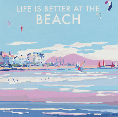 Life Is Better at the Beach Art Deco Railway Poster Blank Birthday