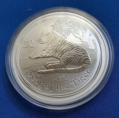 2010 Australia Lunar Year of Tiger 1 oz .999 Silver Coin BU - Capsule - 1oz 999