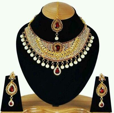 Schmuckset Indisch Rot Gold Hochzeit Braut Kette Anarkali Perlen Indien Sari ()