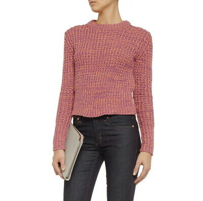 ACNE STUDIOS Lia Twist Cotton Sweater Chunky Knit XS Rasberry Orange