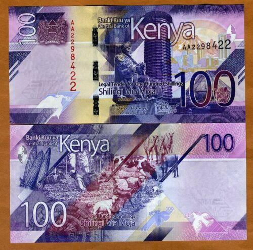 Kenya, 100 shillings, 2019, P-New, AA-Prefix, UNC > New Design