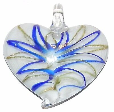 P1052 Blue with Bronze Sparkle Swirl 43mm White Heart Lampworked Glass Pendant