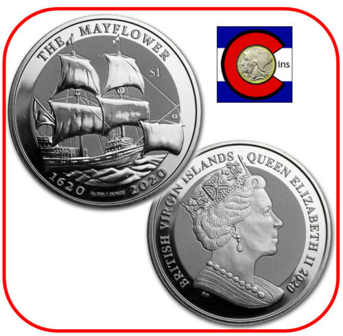 2020 BVI 400th Anniversary Mayflower 1 oz Silver $1 Coin - in direct fit capsule