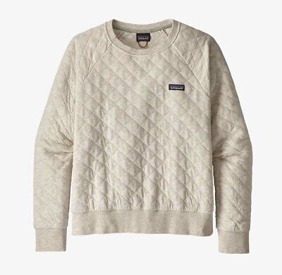 Women's Patagonia Organic Cotton Quilt Crew Pullover, Dyno White, Size XS