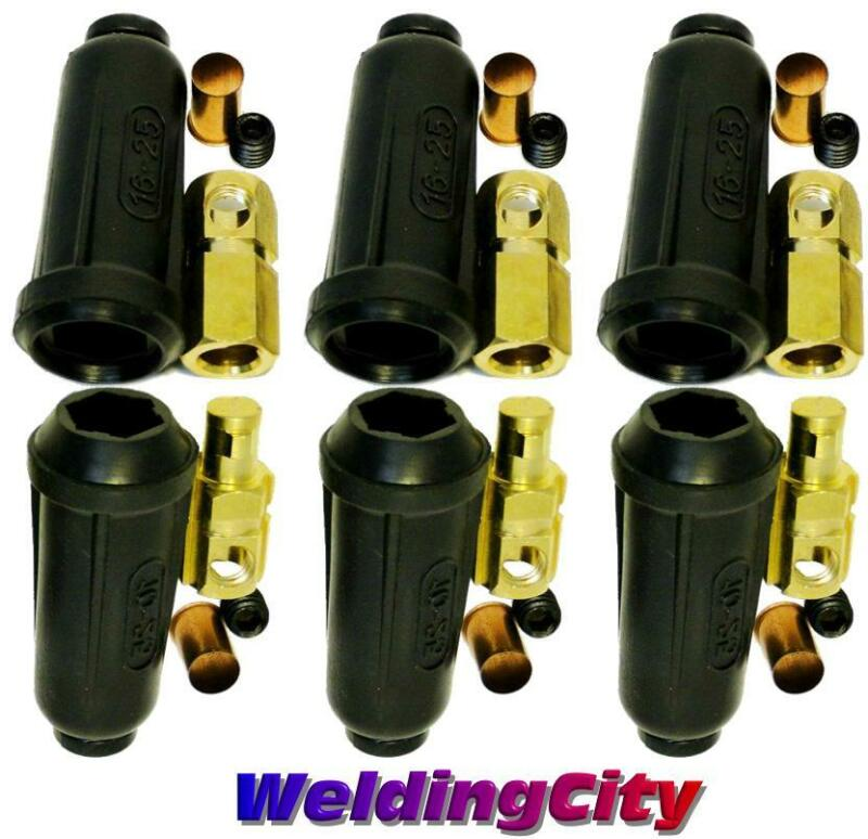 WeldingCity 3-pk Dinse-type Twist-lock Cable Connector Pair #6-#4 16-25mm | USA