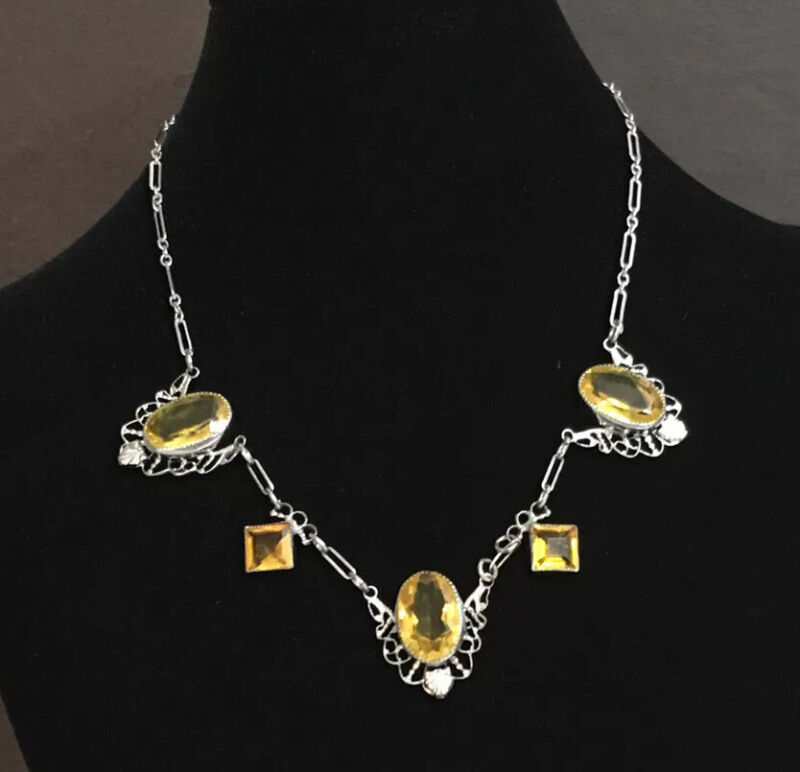 "Vintage Art Deco Filigree Czech Glass Choker Necklace 15"""