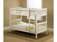 🔥💗🔥SUPERB WHITE, GREY OR OAK🔥BRAND NEW 3FT ATLANTIS WHITE WOODEN CONVERTIBLE BUNK BED & MATTRESS