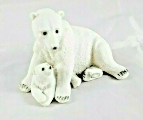 Polar Bear Mother Cuddling with Baby Polar Bear Figurine Collectible 3 3/4""