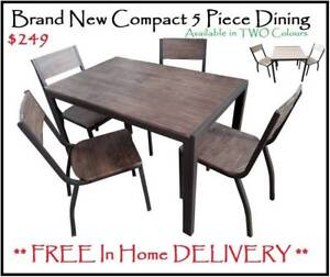 FREE DELIVERY 5 Piece Dining Set - Brand New - Compact