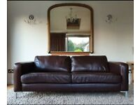 DELIVERY INCLUDED vgc large 2 seater genuine dark brown leather sofa