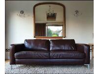 SOLD vgc large 2 seater genuine dark brown leather sofa