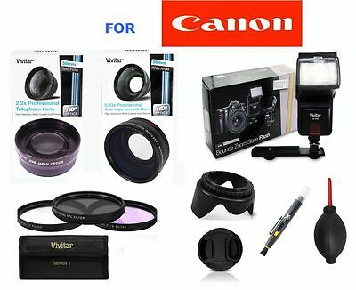 58MM  WIDE ANGLE LENS + ZOOM LENS + FLASH+FILTERS FOR CANON EOS REBEL T4 T4I (Cheap Ultra Wide Angle Lens For Canon)