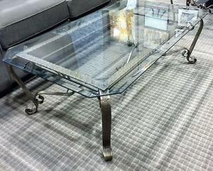 Glass Coffee Table with Ornate Metal Base