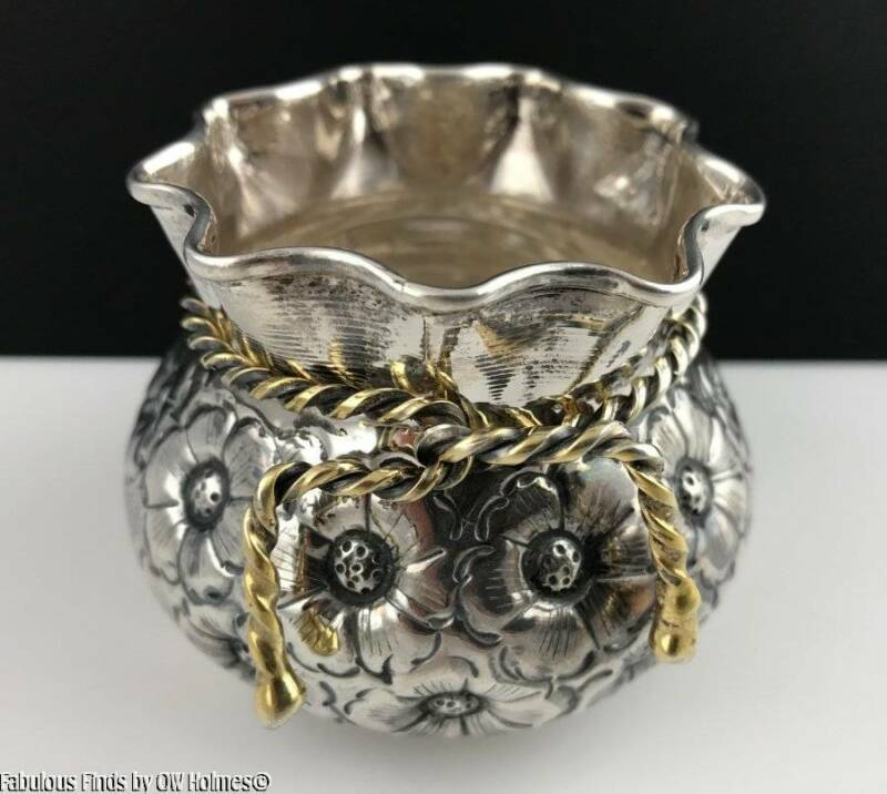 900 Silver (Almost Sterling) Floral Bowl Gilt Rope Tie Continental / Middle East