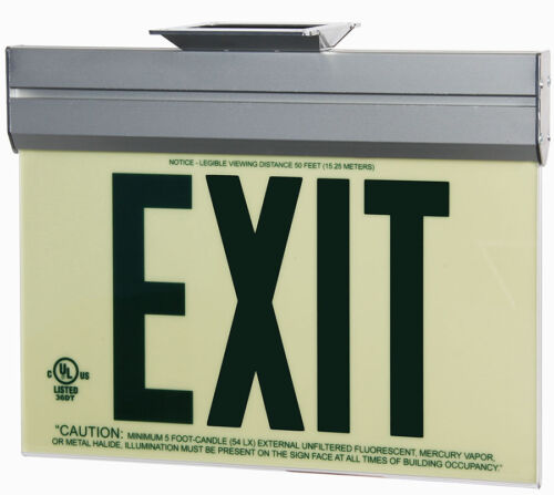 NEW!! JESSUP GLOBRITE, EXIT SIGN, PHOTOLUMINESCENT, GREEN, ACRYLIC, 7220-ACR-B