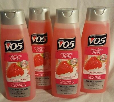 VO5 Moisture Milks Moisturizing Shampoo, Strawberries - Cream 12.5 oz (4 pack) (Moisture Milks Moisturizing Shampoo)